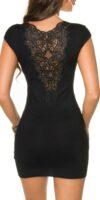 Czarna tunika/sukienka z krótkim rękawem ozdobiona elegancką koronką