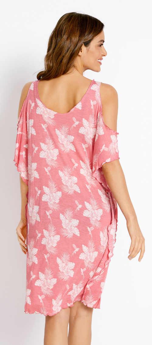 Różowa, kwiecista sukienka plażowa do kolan
