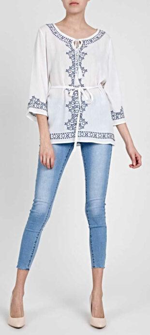 Biało-niebieska tunika z paskiem