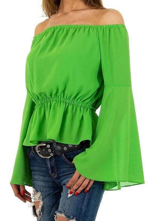 Bluzka damska w kolorze zielonym groszkowym