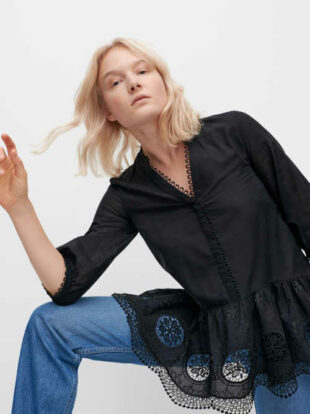 Czarna nowoczesna tunika damska z koronkowym wykończeniem
