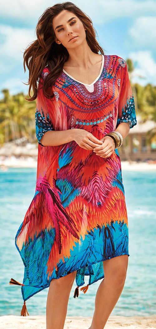 Wielokolorowa sukienka plażowa na strój kąpielowy Iconique Fuego