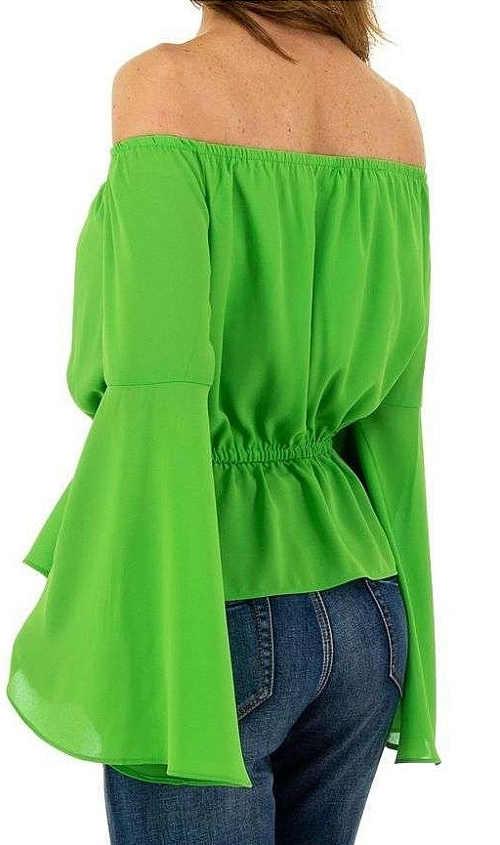 Zielona bluzka damska z szerokimi rękawami typu dzwonek
