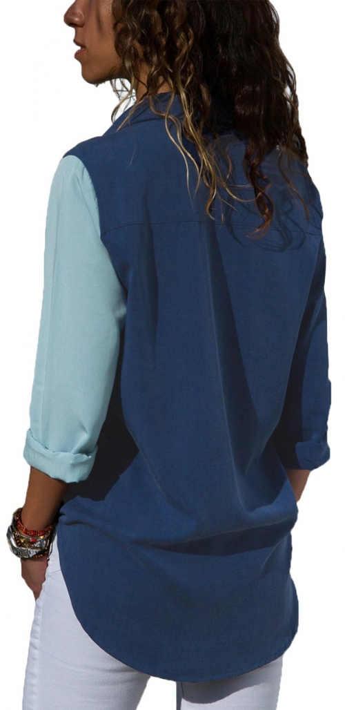Długa niebieska koszula damska