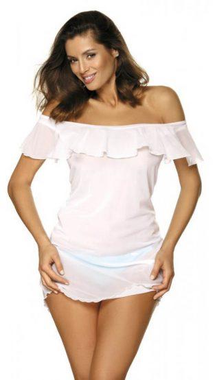 Biała sukienka plażowa z opuszczanymi rękawami i falbanką
