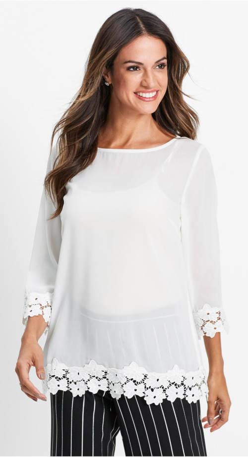 Biała wizytowa bluzka z kwiatową koronką