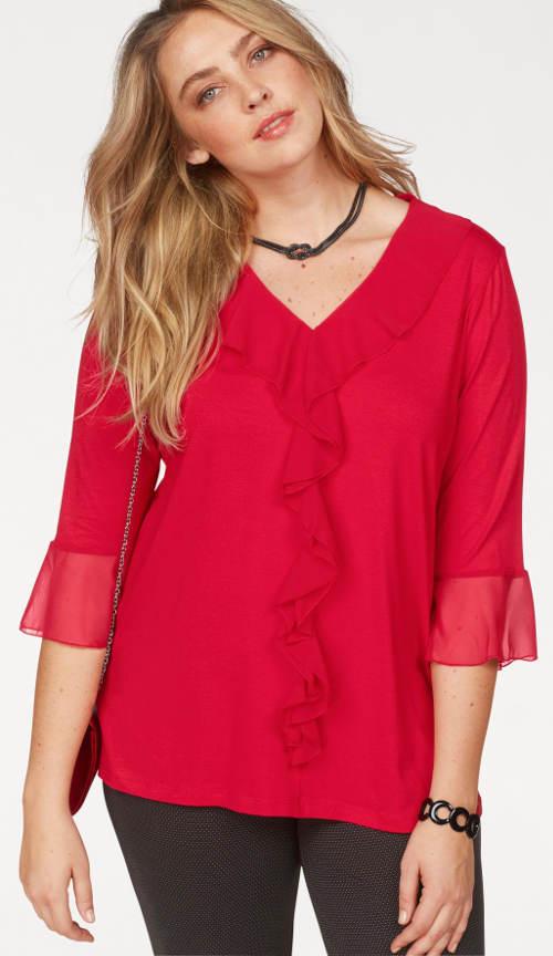 Czerwona tunika damska z falbankami