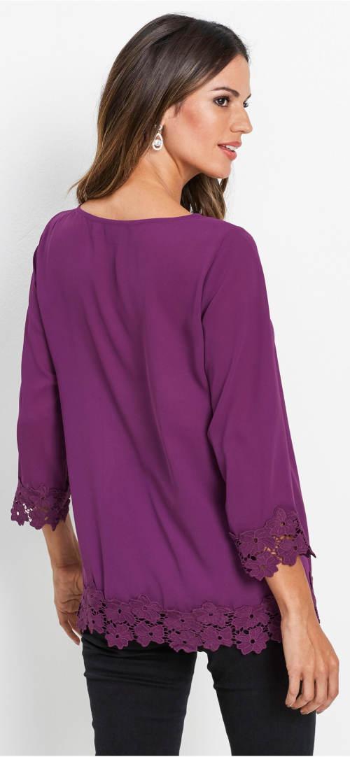 Fioletowa bluzka z kwiatowym haftem