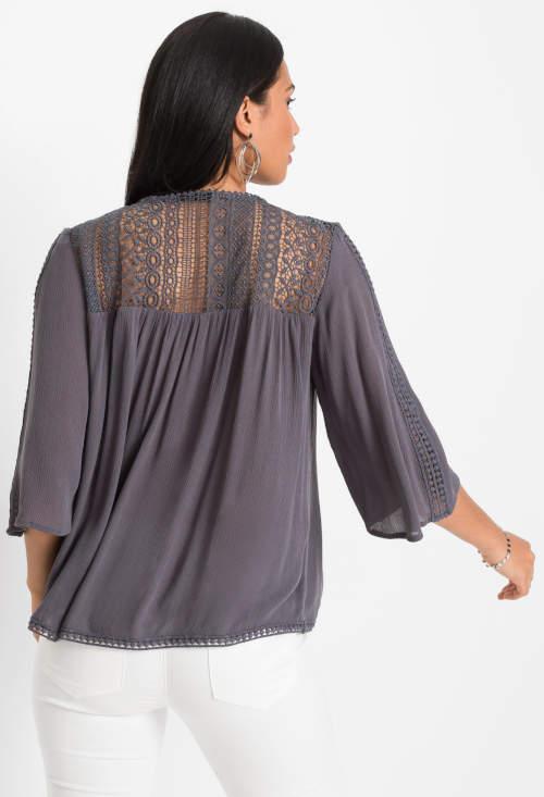 Formalna bluzka damska z koronką na plecach