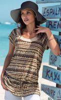 Francuska tunika plażowa z nadrukiem w stylu etno