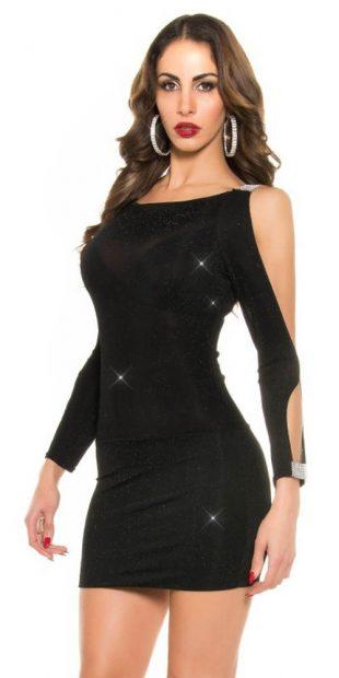Połyskująca mini sukienka z wycięciami na ramionach