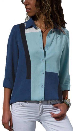Niebieska koszula damska w paski