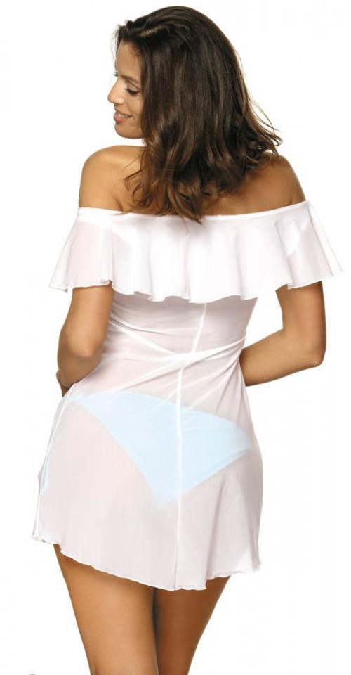 Przezroczysta biała tunika z falbankami na kostiumie kąpielowym