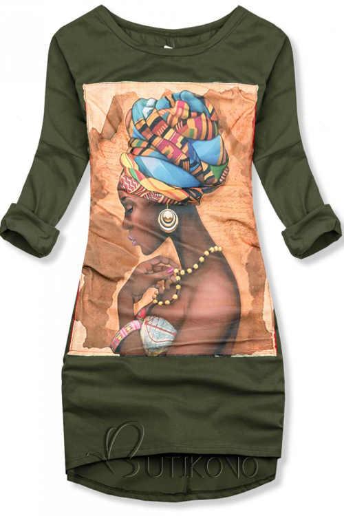 Bawełniana sukienka w kolorze khaki z aplikacją