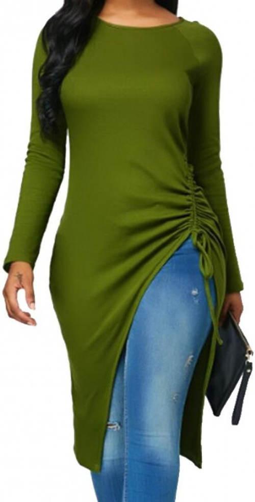 Długa zielona tunika zimowa z wysokim rozcięciem
