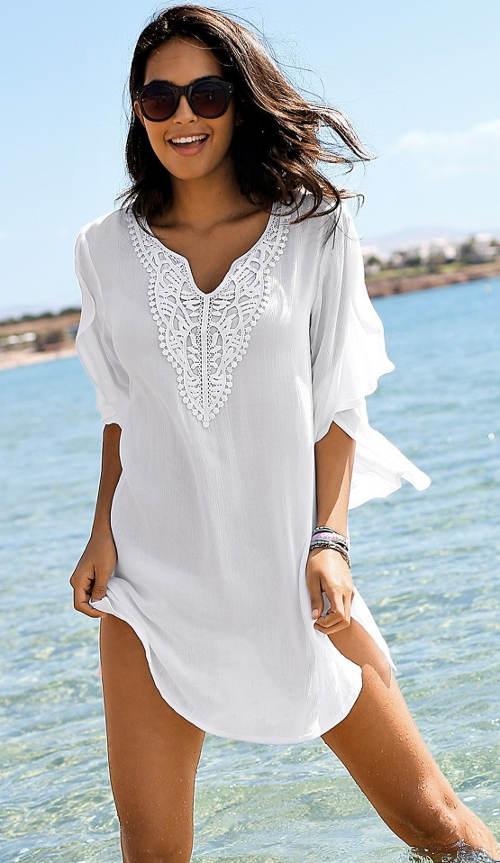 Piękna plażowa tunika z lekkiej krepy