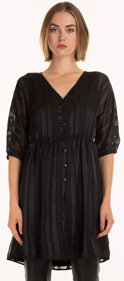 Tania czarna tunika z plisą guzikową